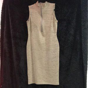Misguided tan midi dress with zipper